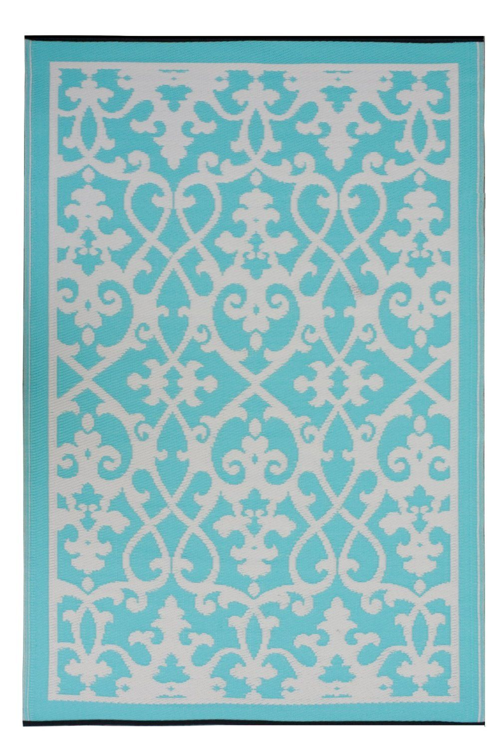 Amazon.com: Fab Habitat 4-Feet by 6-Feet Venice Indoor/Outdoor Rug, Cream and Turquoise: Furniture & Decor