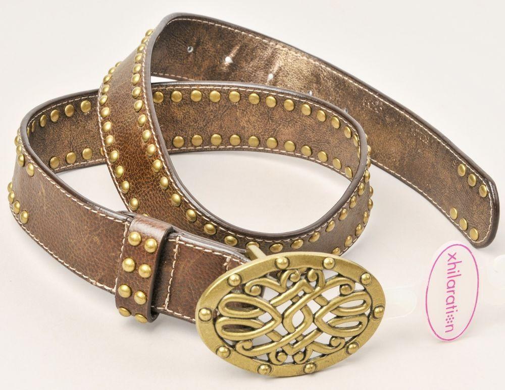 Kathy Van Zeeland Brown Leather Belt Brass Buckle and Studs NWT…