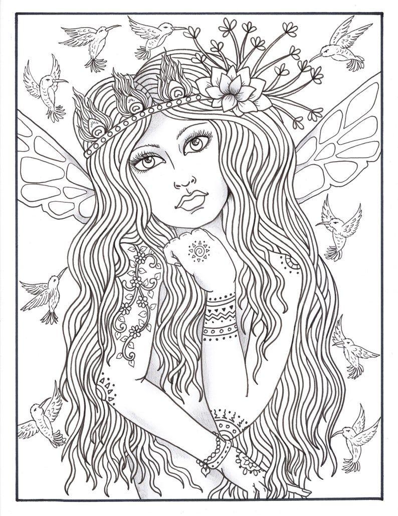 Fairy Hair Ii Adorned Digital Coloring Book Fairies Jewels Flowers And Fun Mandala Coloring Pages Fairy Coloring Pages Coloring Books [ 1028 x 794 Pixel ]
