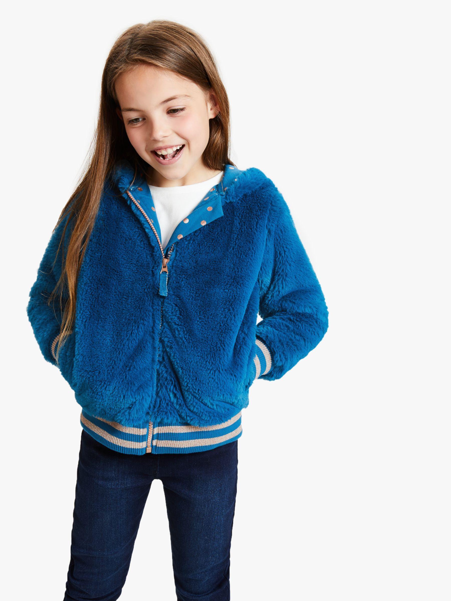 John Lewis Partners Girls Faux Fur Bomber Jacket Blue Fur Bomber Bomber Jacket John Lewis