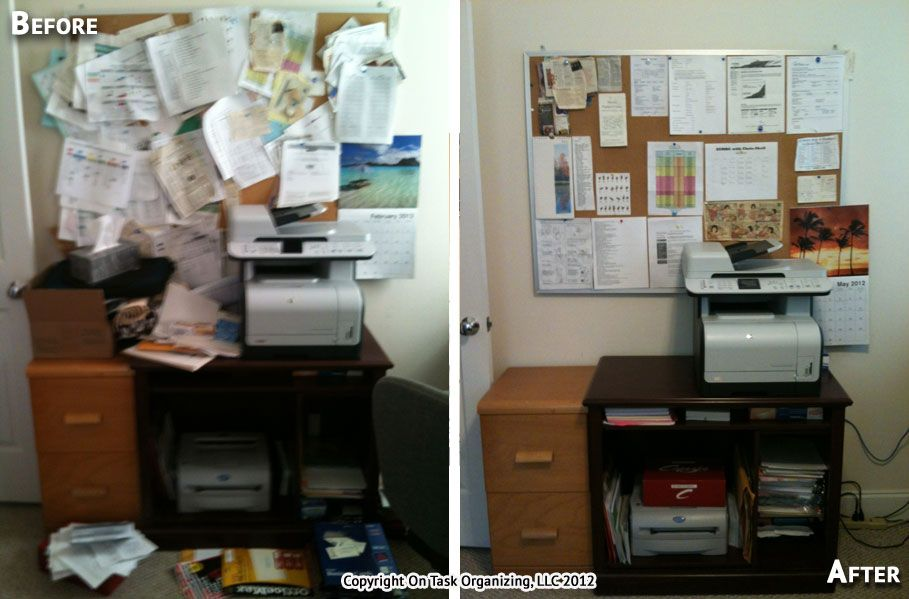A Home Office Printer Stand And Bulletin Board Before After Organization By On Task