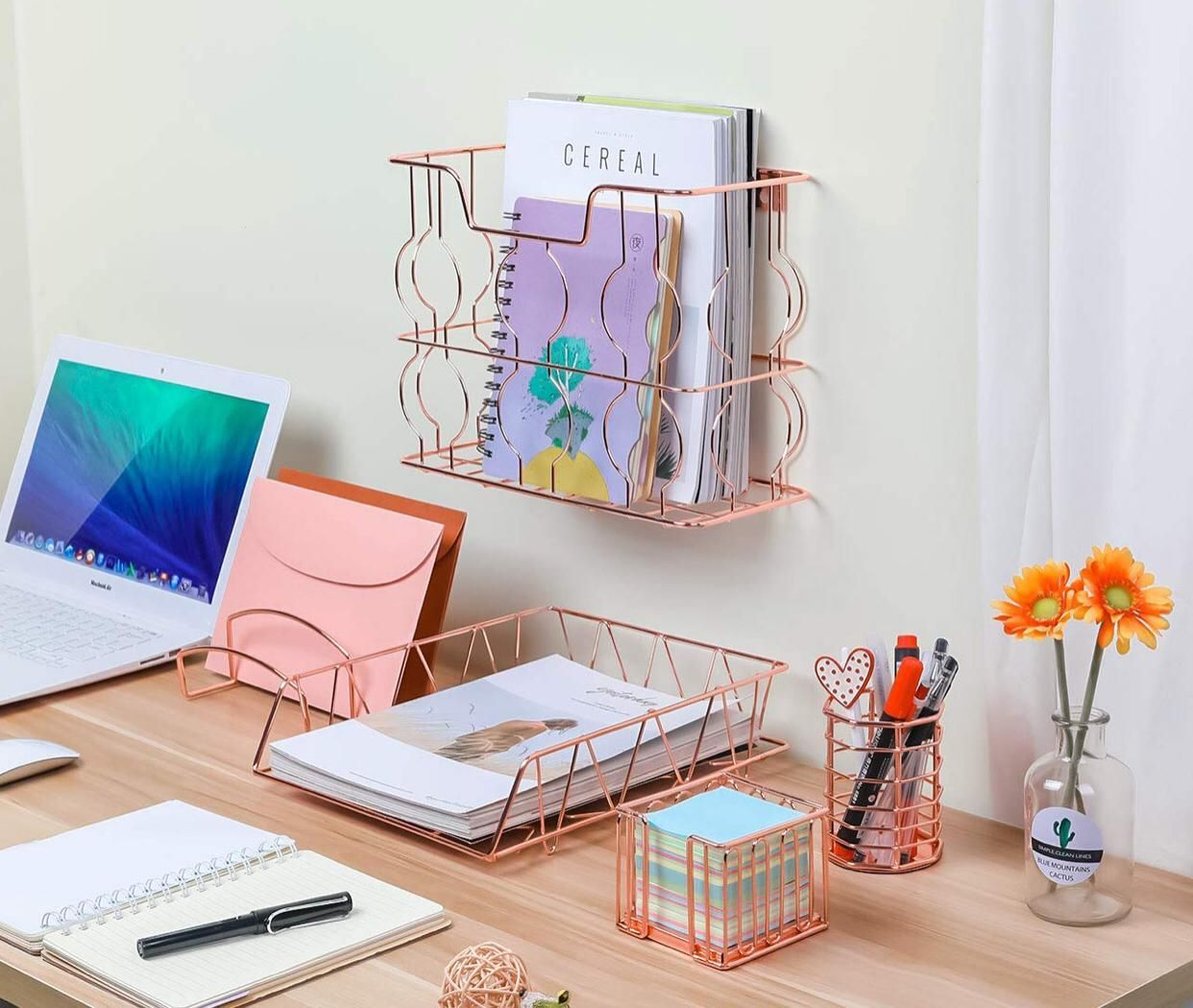 Pag Rose Gold Office Supplies 5 In 1 Metal Desk Organizer Set Hanging File Organizer File Tray Gold Office Supplies Office Organization At Work Gold Office