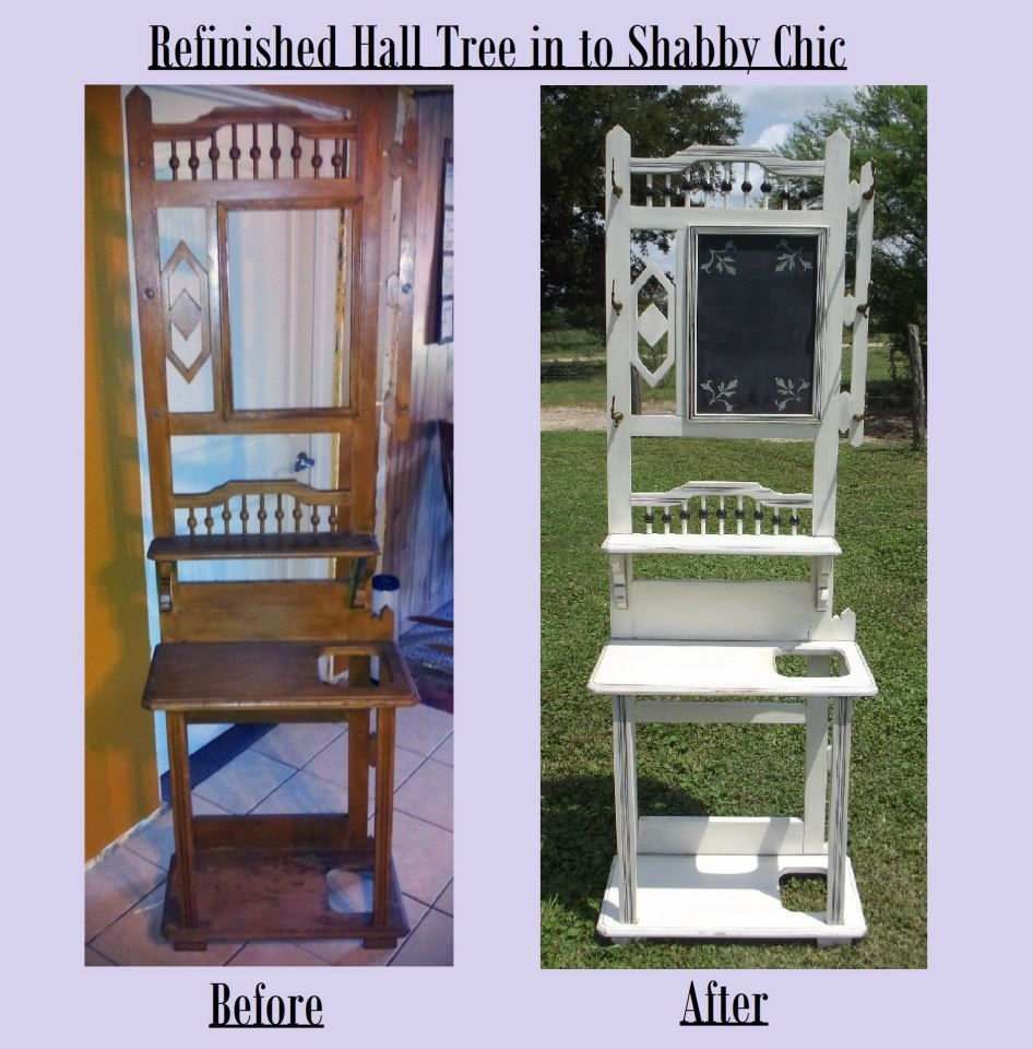 Plain Hall Tree Refinished In To A Beautiful Shabby Chic Hall Tree With Chalkboard Follow Us For More Wonder Shabby Vintage Entry Table With Mirror Home Decor