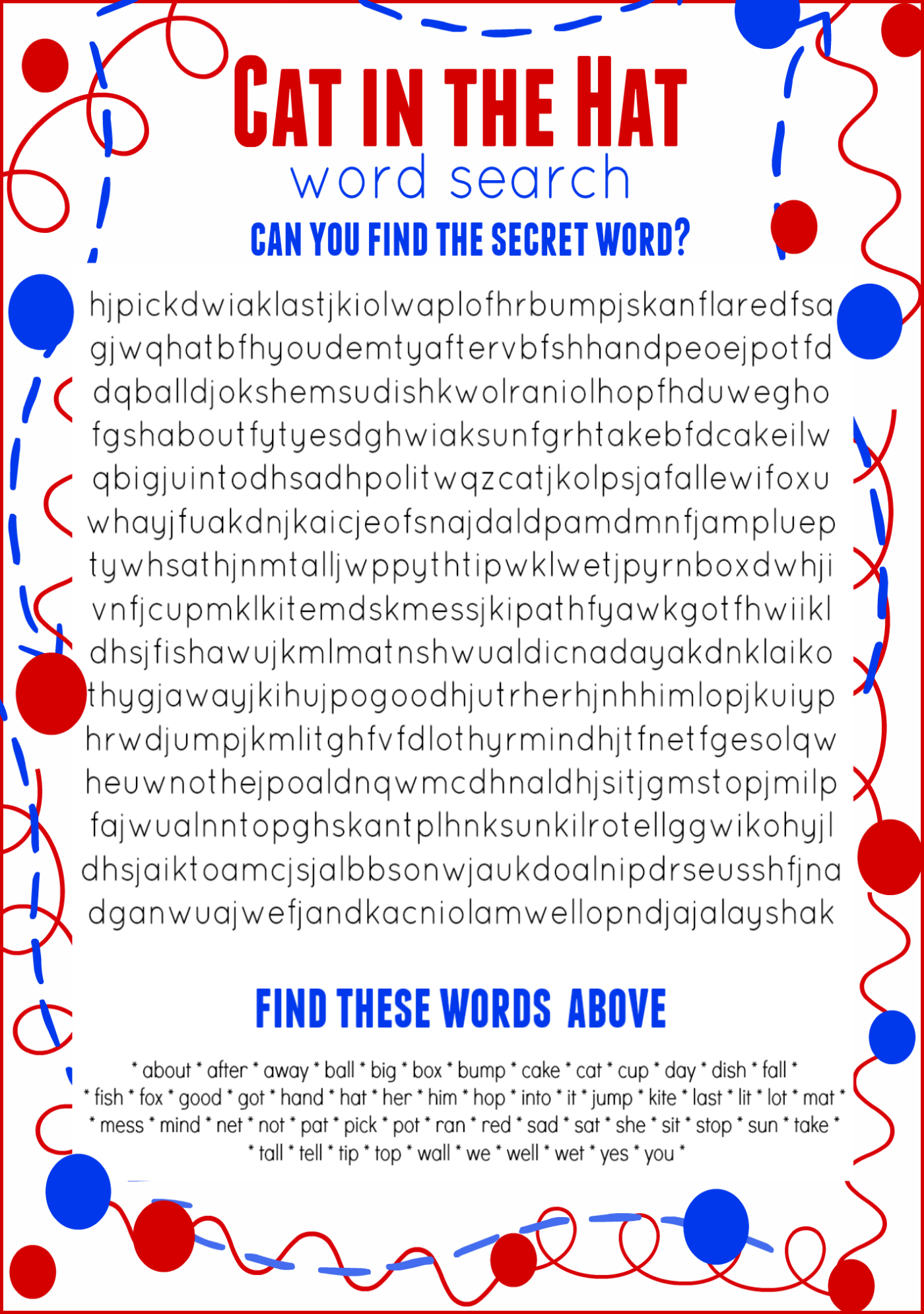 Cat In The Hat Word Search Free Printable Dr Seuss