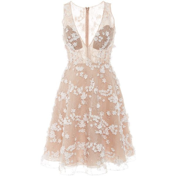 Patricia Bonaldi Beaded Tulle Cocktail Dress ($1,735) ❤ liked on Polyvore featuring dresses, pink sleeveless dress, flared skirt, pink circle skirt, flared mini skirt and tulle dress