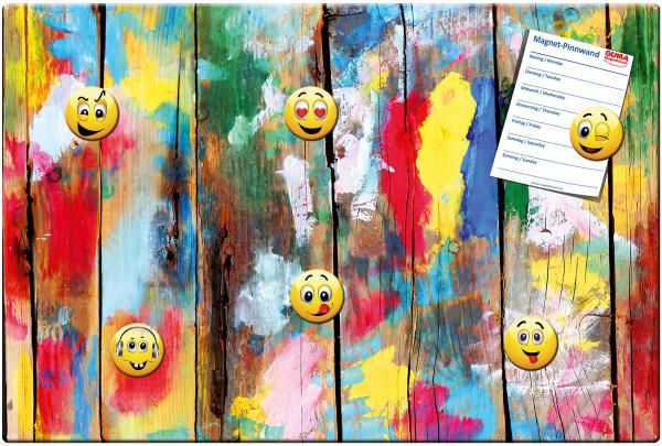 Magnettafel 60 x 40 cm Holzwand Kunterbunt inkl. 6 Magnete Smileys - HN1608-2533