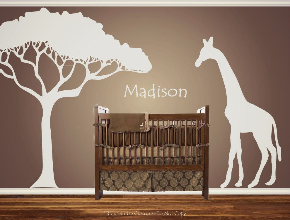 Personalised Customized Giraffe Animal Nursery Wall Decal Crib Identify Child Bathe Present Concept Cur African Safari Theme Wanting