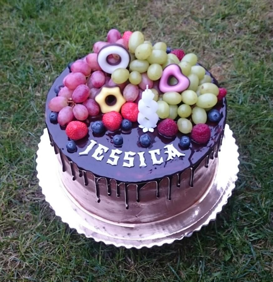 Chocolate birthday cake with fresh fruits by AndyCake ...
