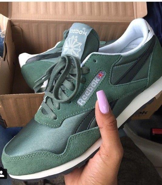 7ad988164fe5 shoes Reebok green khaki olive green reebok classics reeboks reekbos  trainers