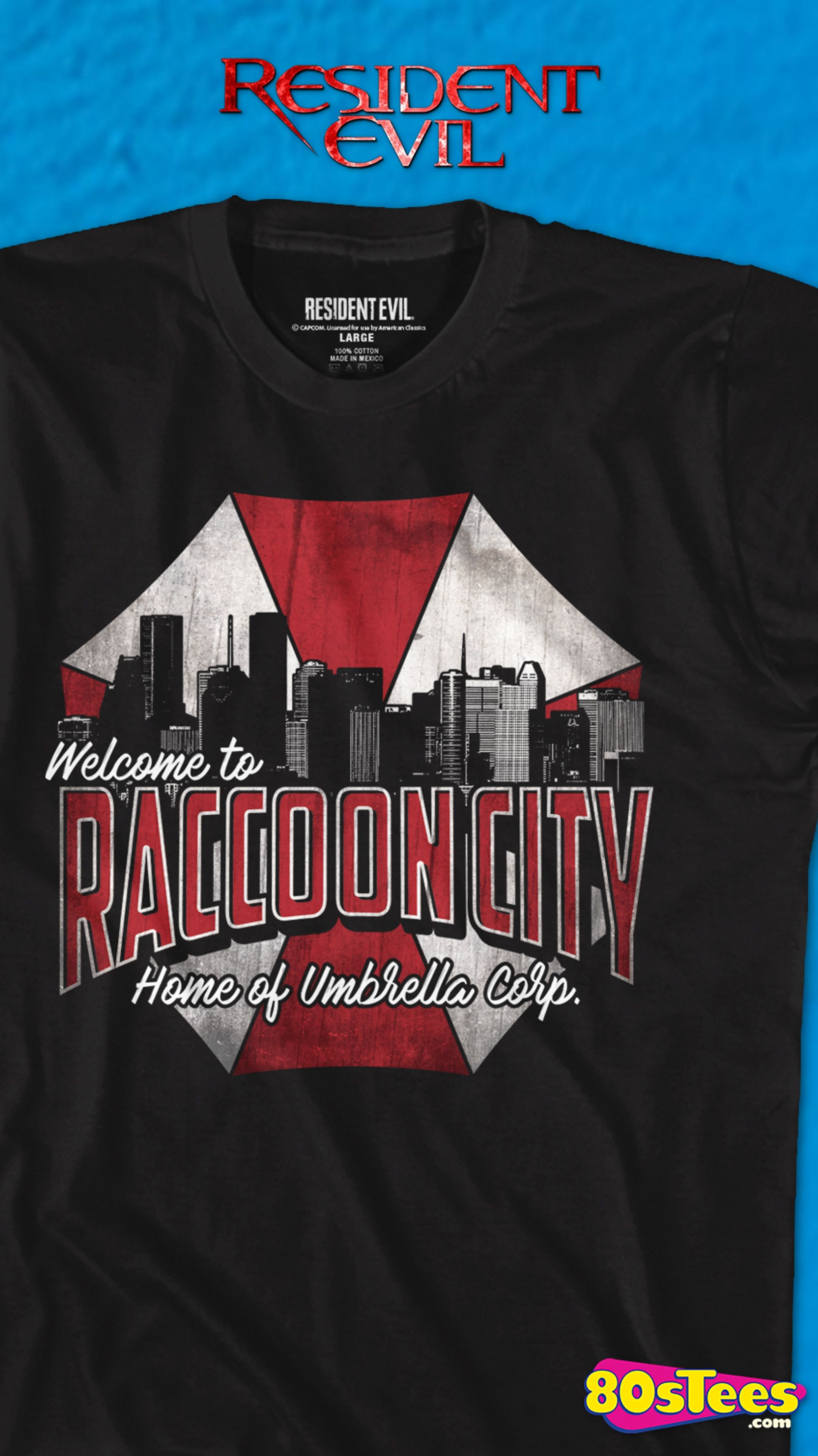 This Raccoon City Resident Evil T Shirt Shows The City From The 1996 Capcom Video Game Umbrella Corporation S Logo Is Pict T Shirt Great T Shirts Mens Tshirts