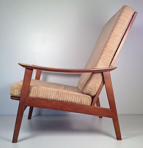 Vintage Mid Century Danish Modern Hi Back Lounge Chair Yugoslavia