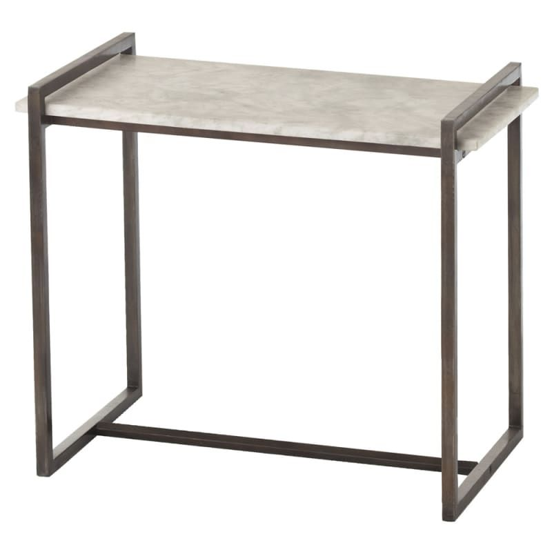 Arteriors 6392 6683 Hollis 26 Inch Long Marble Top End Table Dark Natural Iron Furniture Tables