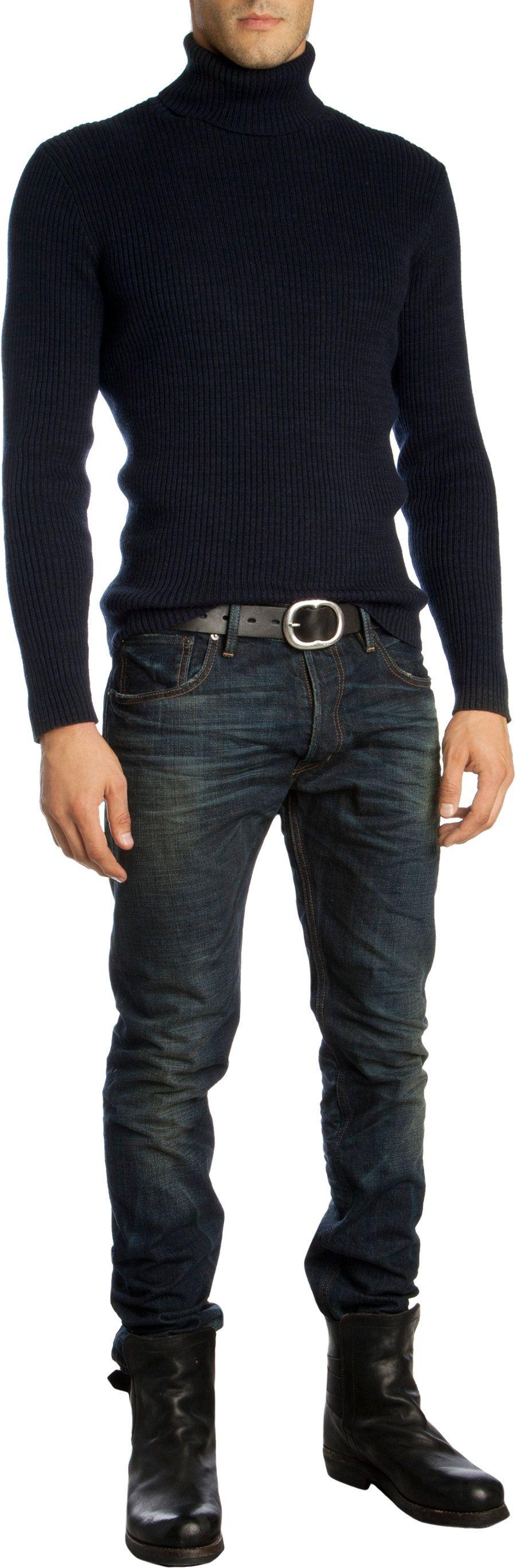 Ralph Lauren Black Label Denim Prospector Jean. Well fitting black turtleneck.