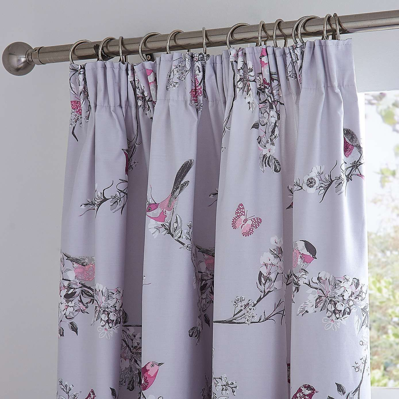 Beautiful Birds Grey Thermal Pencil Pleat Curtains