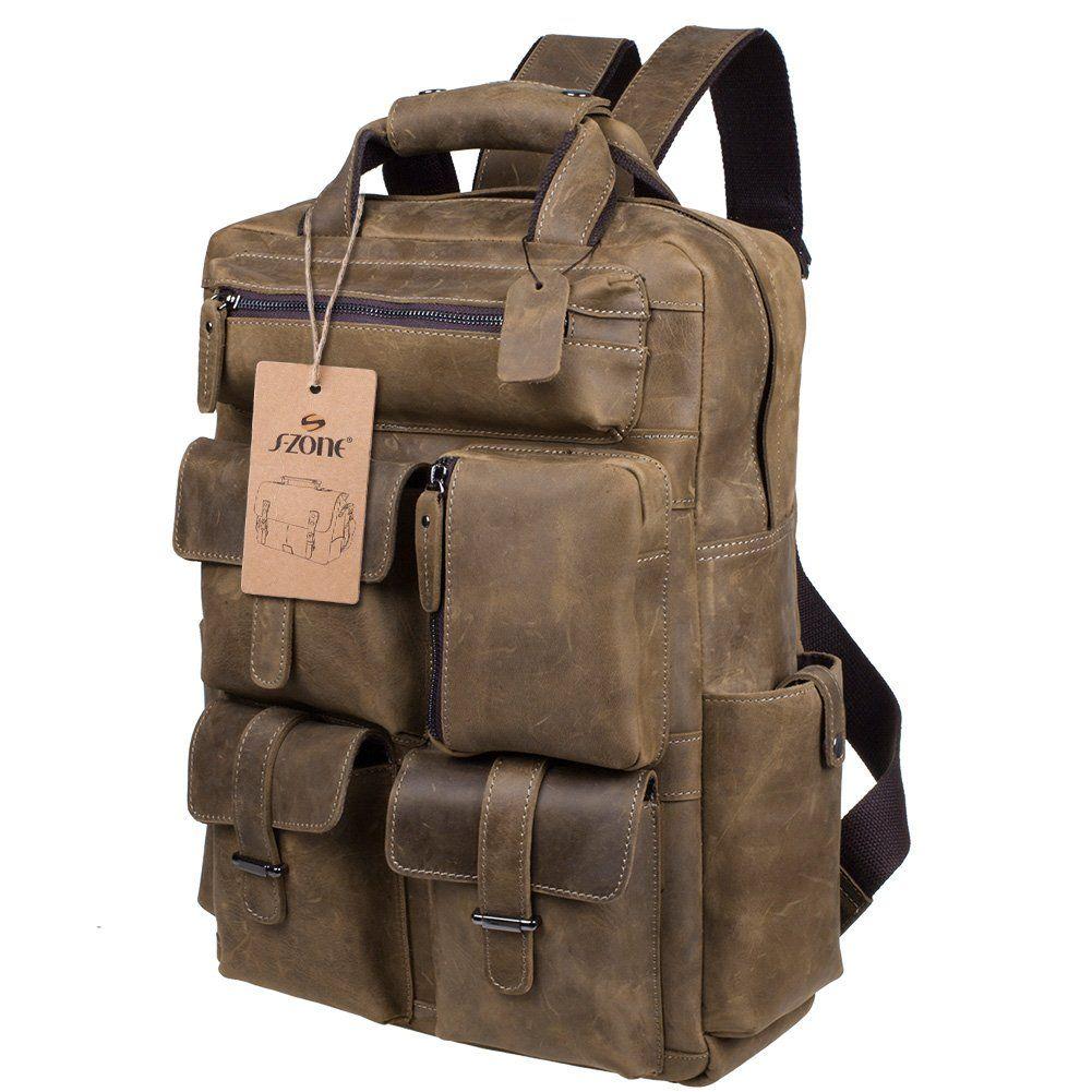 b240b64ed44d S-ZONE Mens Genuine Leather Handmade 17 inch Laptop Backpack ...