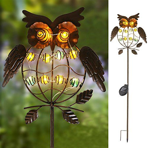 """Buy TAKE ME Garden Solar Lights Outdoor,Solar Powered Stake Lights  Metal OWL LED Decorative Garden Lights for Walkway,Pathway,Yard,Lawn (Multicolor) (Multicolor)   Review is part of Public lawn Projects - Buy Now $23 99 Introduction Solar Pathway Stake Light,Perfect for Garden Decor A fun, sustainable and beautiful way to make light, Solar stake lights is ideal for garden lighting, decorating yourLawn, Patio, Gardenand all other outdoor pursuits that would benefit from beautiful lighting to create a wonderful and relaxed atmosphere  Solar Powered,Environment Friendly & Energy Conservation Garden stake outdoor lights The builtin solar panels convert sunlight into electricity  The rechargeable battery stores the energy and converts the power into light for use during the night  Stronger or longer exposure to sunlight enables the battery to store more energy and provide longer lighting hours Also,this solar garden decor lights is waterproof and corrosion resistant,Perfect for using in outdoor and rainy days  The light is easy to install with no wiring necessary so you have no hassle installation, no extra tools, and no extra purchases needed! Specification 1 Solar Panel 70MA,17% efficiency 2 Battery 1AA 1 2V 600mAh rechargeable battery 3 Solar Charging Time 8hrs 4 Light Source 10warm white microled 5 Size 6 3""""(L)x1 6""""(W)x38""""(H)  SOLAR POWERSolar Panel collects sunlight to charge the batteries(included) during the day Automatically turns on at dusk for up to 8 hours of nighttime illumination Solar outdoor garden decor stake,Adorable and full of character, the Owl SolarPowered Garden Stakes Lights is a cute complement to your outdoor entertaining area Made of 10 microled and weatherresistant metal stake so your light lasts throughout the year Durable,ecofriendly and reliableno power cord required, no electricity cost, no conventional energy consumption; waterproof, corrosion resistant and can work outdoors in rainy days Decorative stake lights,Dimensions6 3 (L)x1 6 (W)x"""