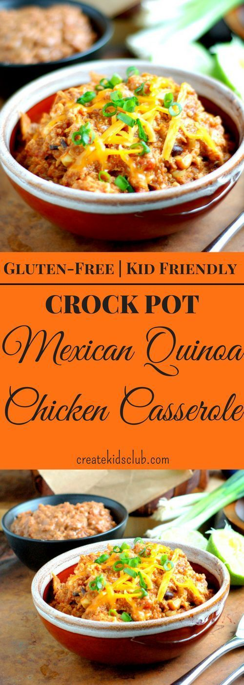 This Quinoa Casserole is the best way to get your eating the nutritious grain. Mexican flavors blend perfectly with the chicken, beans, and corn. A complete one pot dinner meal that can easily be put together quickly in the morning and be ready when you get home on a busy night. This is a must try casserole the whole family will love. Eat the leftovers cold for lunch the next day, or top a green salad with a scoop. via http://createkidsclub.com