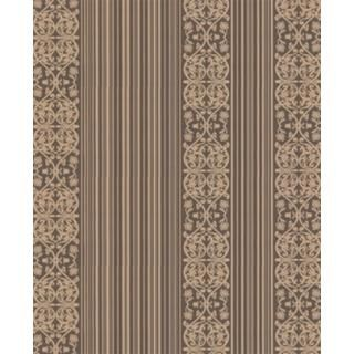 Brown and gold Kelly striped damask wallpaper