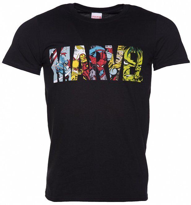 Men's Black Marvel Comic Strip Logo TShirt Marvel
