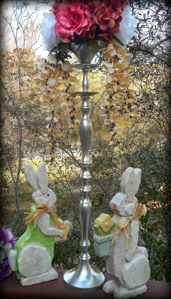 24 Silver Wedding Decor Vase Flower Stand Tall Candle Holder Bouquet