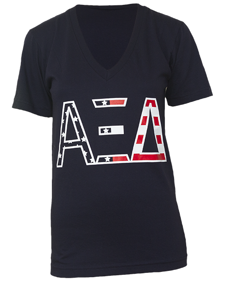 Alpha Xi Delta American Dream V-neck by Adam Block Design | Custom Greek Apparel & Sorority Clothes | www.adamblockdesign.com | orders@adamblockdesign.com