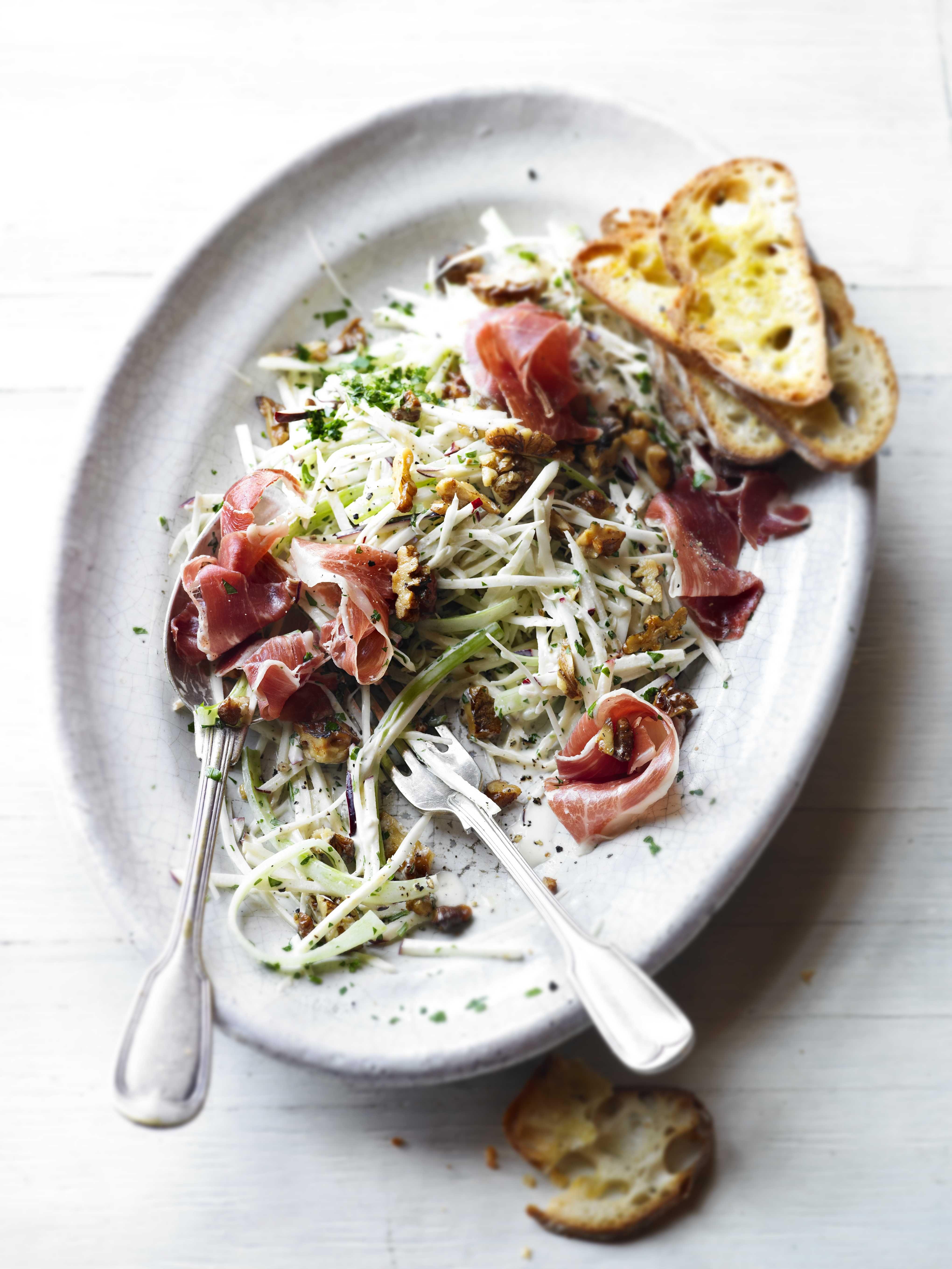 Celeriac, apple and walnut salad with prosciutto