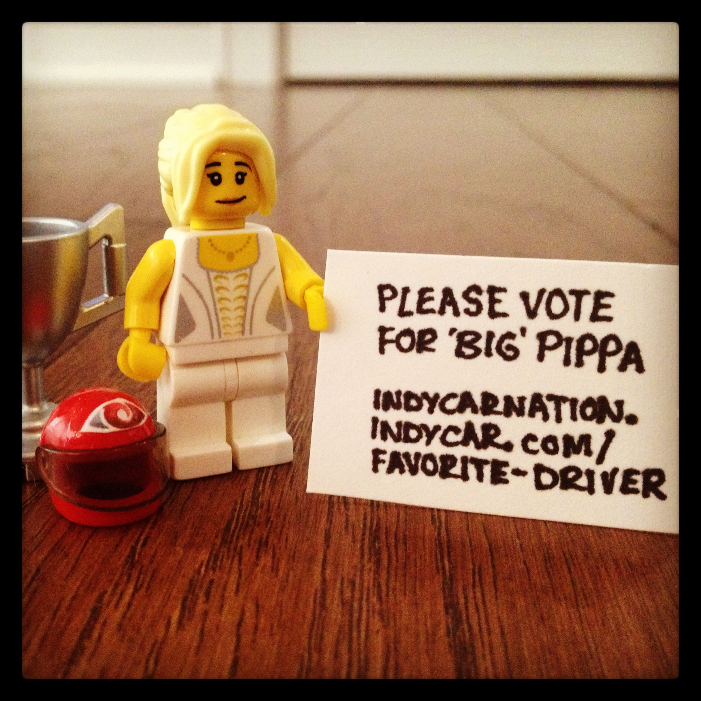 I asked #LittlePippa to help me out, see if we could get another vote or two between us!! :) #DoWhatSheSays #TeamCyclopsGear #Indycar
