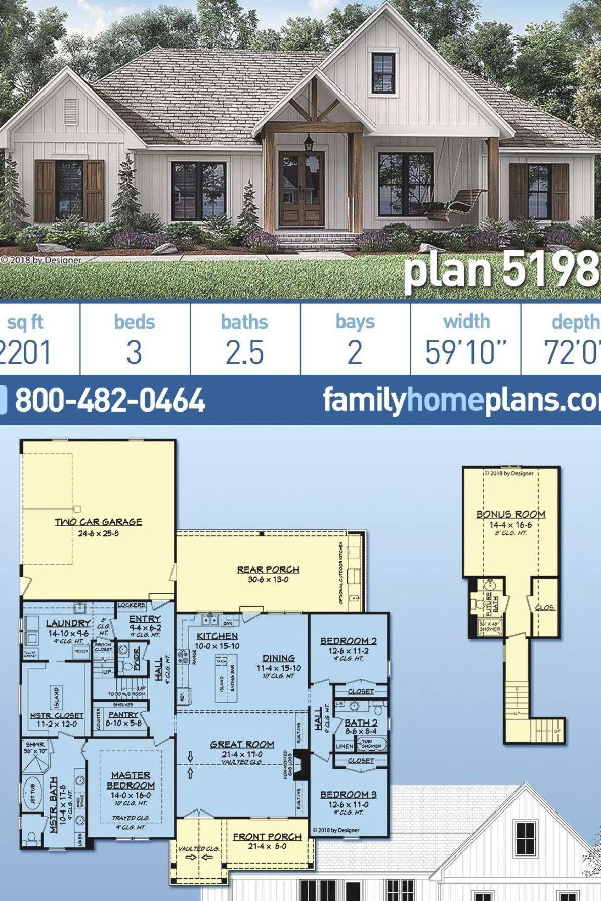 Country Home Plans 51984 House Plan Zone Specs And Features Include 2201 Square Feet 3 Bedrooms 2 5 Ba Family House Plans Craftsman House Dream House Plans