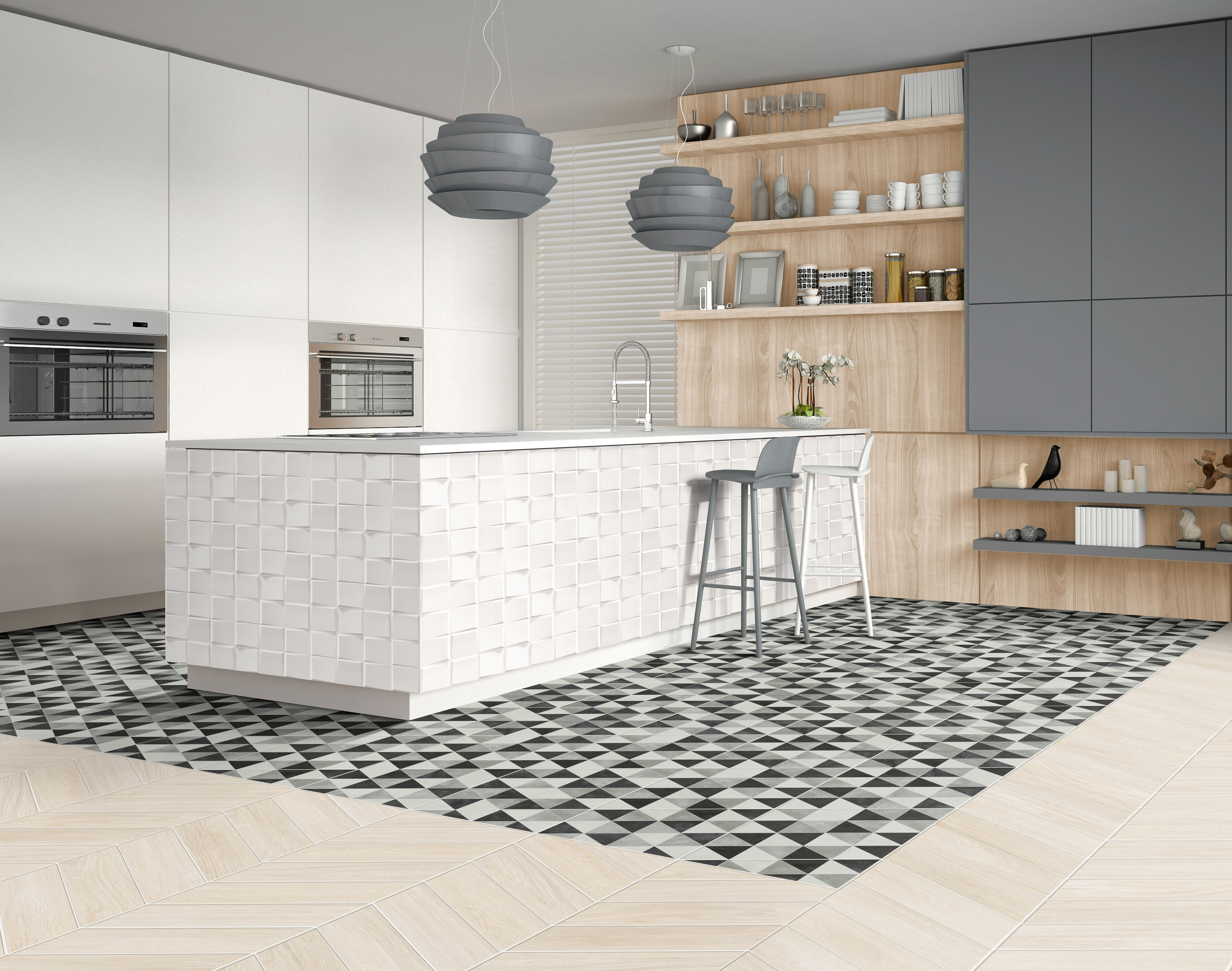 ideas shaker tile grey floor porcelain remodel pin island countertops design cabinets kitchen white quartzite countertop