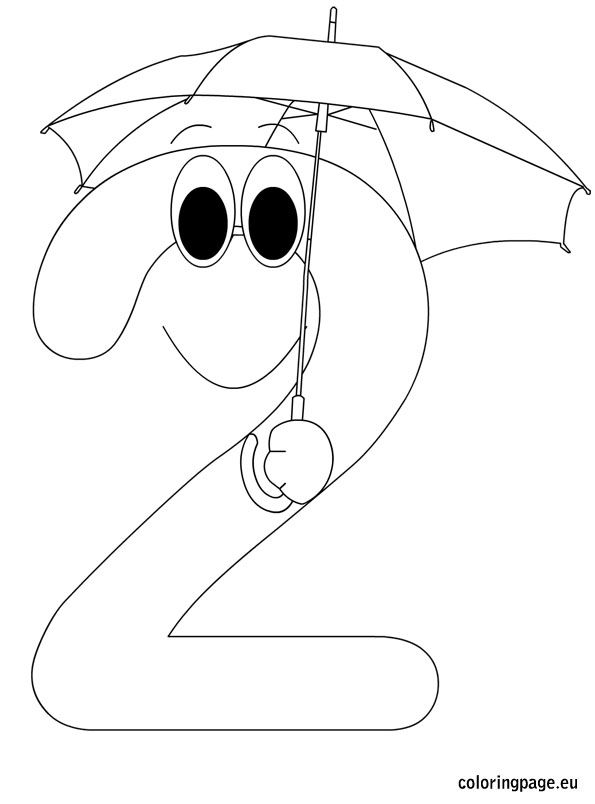 number two coloring page - One Coloring Page