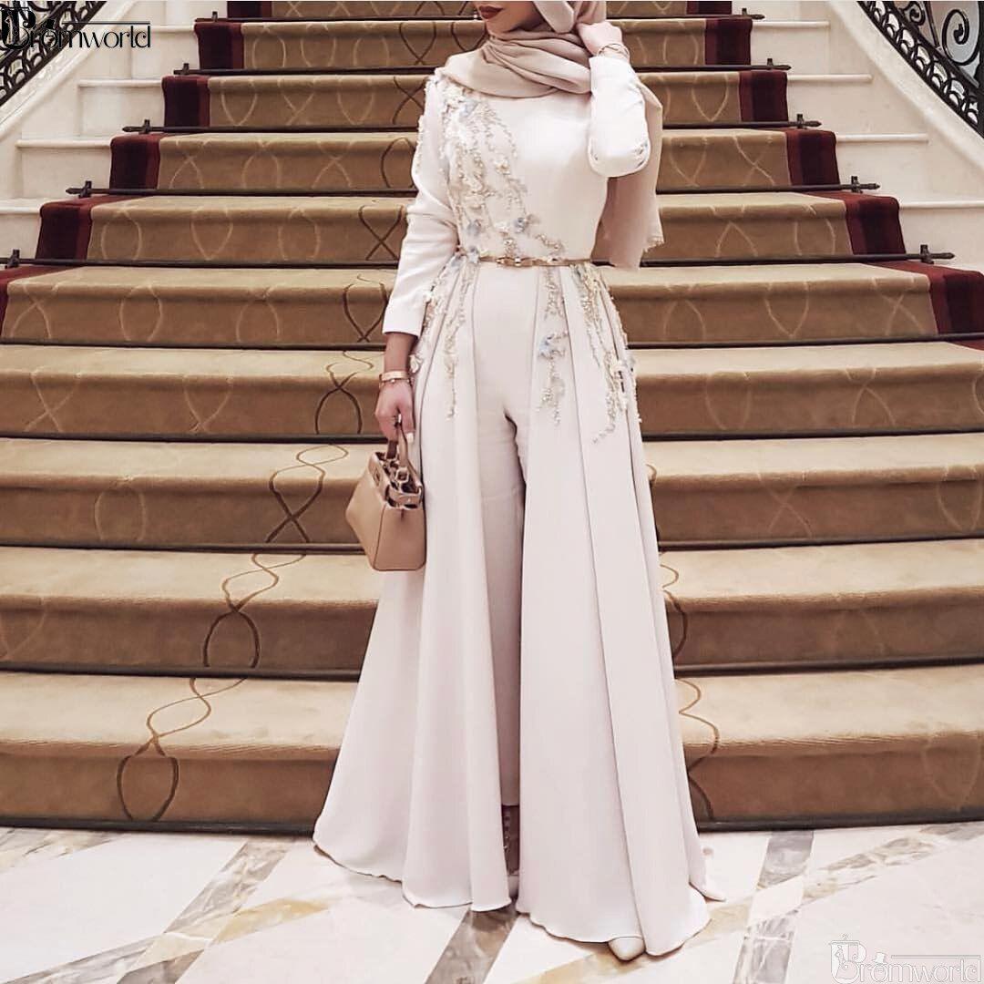 Ivory Long Sleeve Muslim Evening Dress 2020 Embroidery Robe Soiree Islamic Dubai Hijab Evening Gowns Pantsuit Formal Prom Dress Muslim Evening Dresses Hijab Fashion Inspiration Hijab Evening Dress