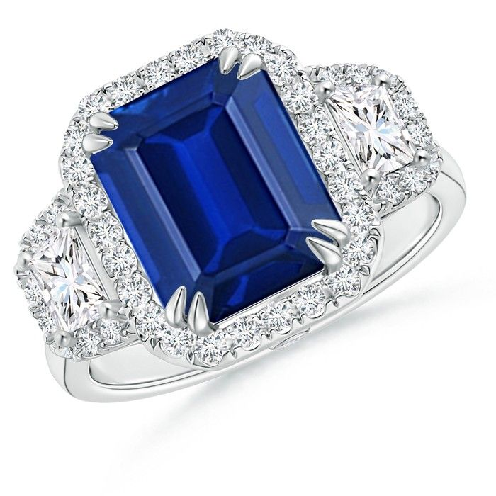 Angara Platinum Emerald-Cut Sapphire Ring Q4eCo2opU