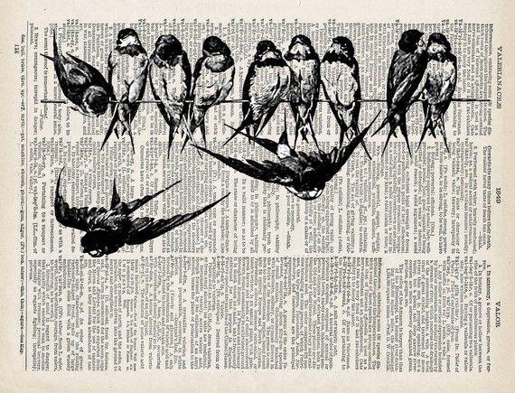 Bird Art Print Swallows Dictionary bird print by OnceTattered, $10.00