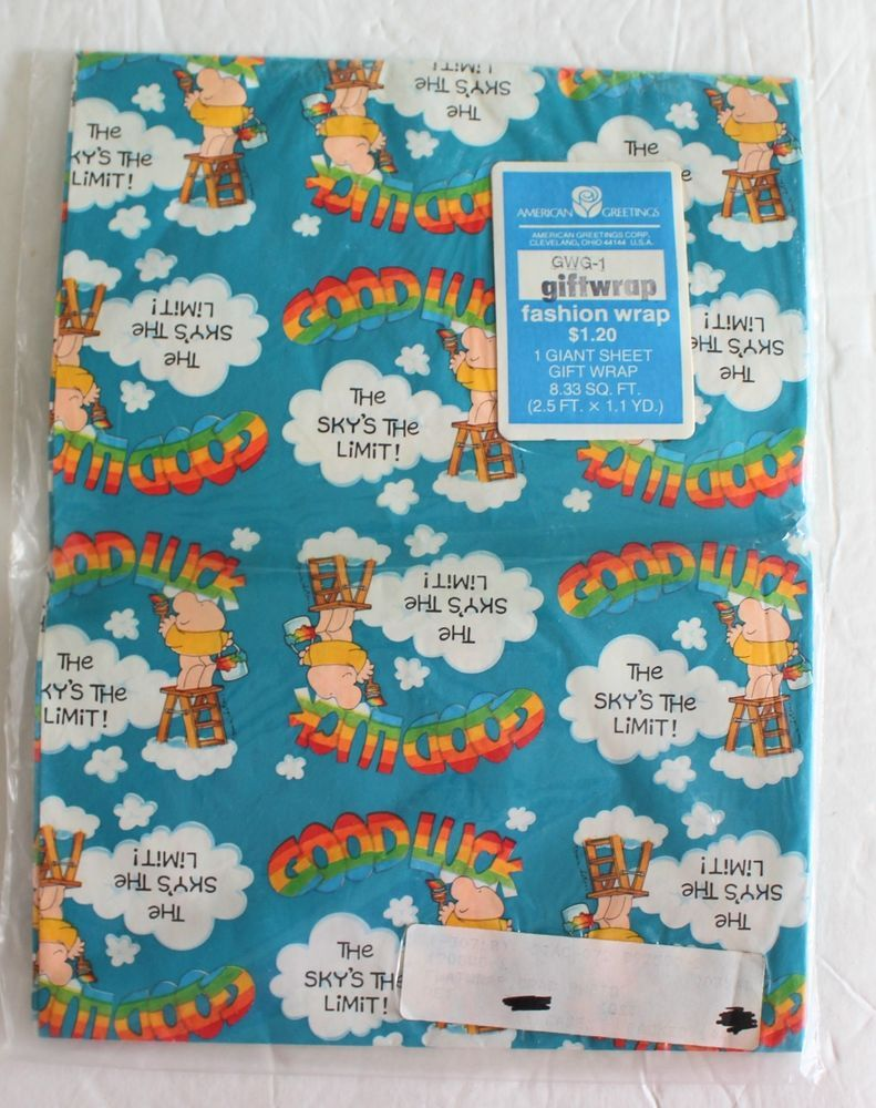 New American Greetings Vtg Ziggy Wrapping Paper Giant Sheet Gift