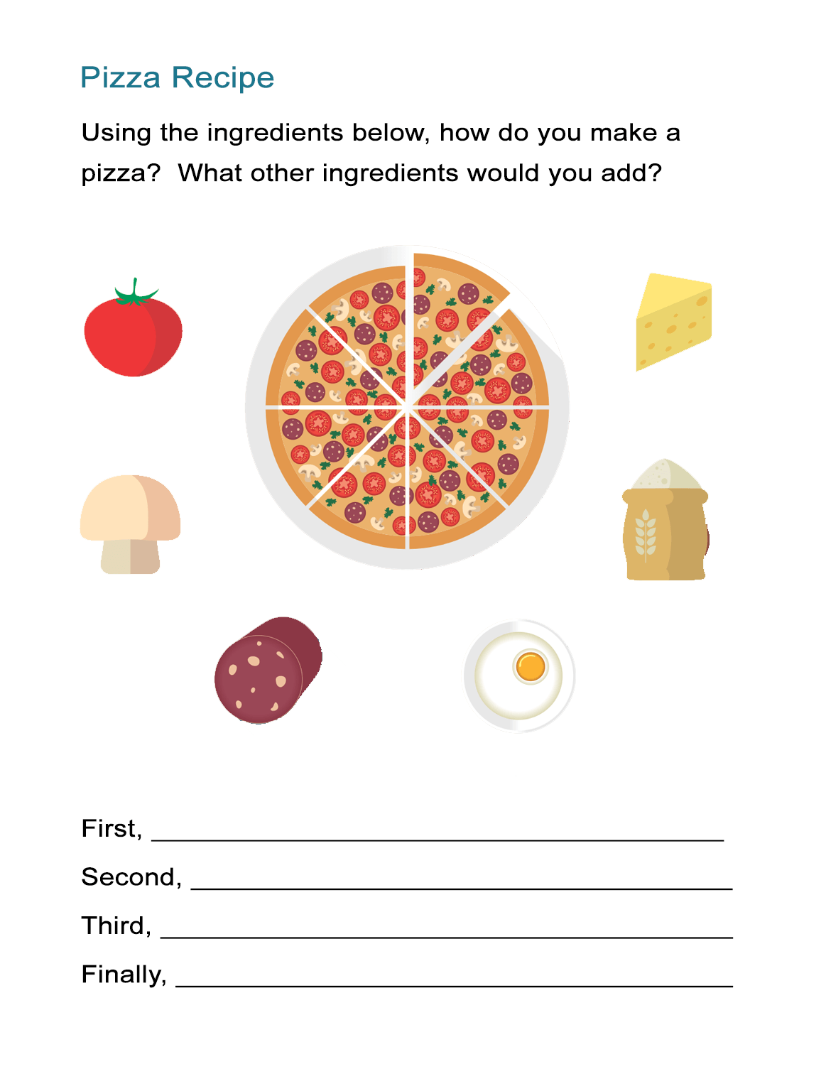 Transition Words Worksheet The Pizza Recipe Cooking