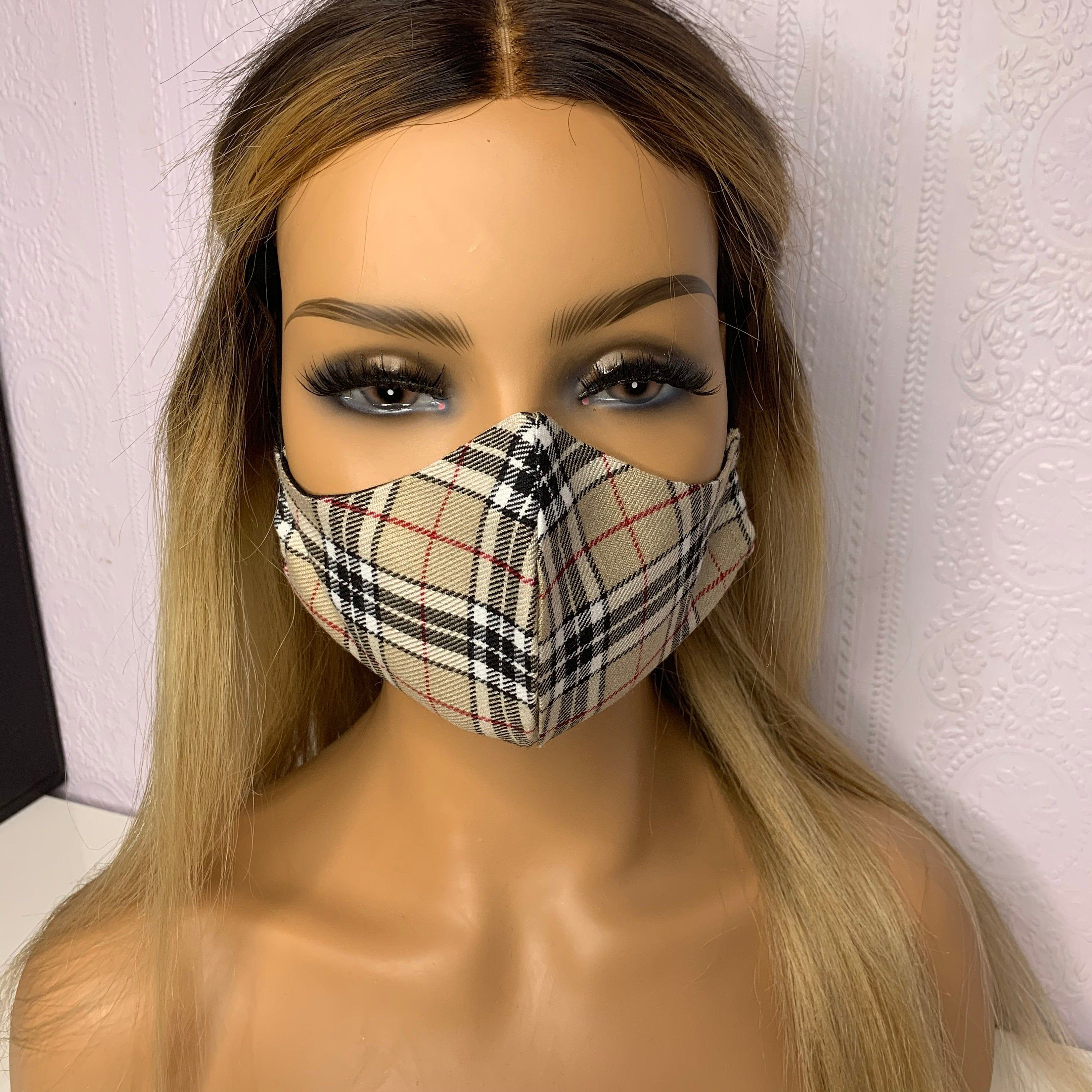 Face Mask Covering Burberry Style Print Designer Inspired