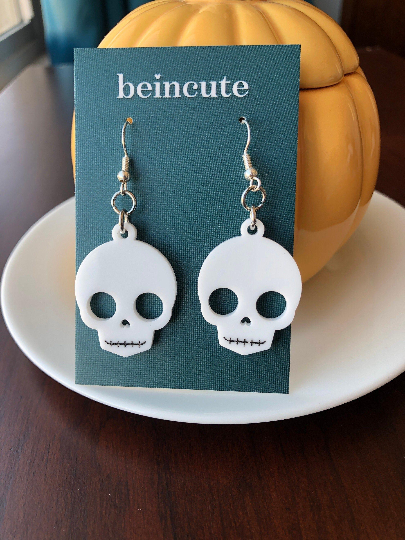 Halloween Skull Earrings, Skull Jewelry, Gothic Skull Earrings, Halloween Costume Earrings, White Skull Earrings, Acrylic Skull Earrings