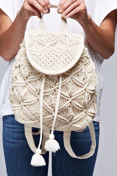 Crochet Mini Backpack   MACRAME BOLSOS   Pinterest   Bolsos ...