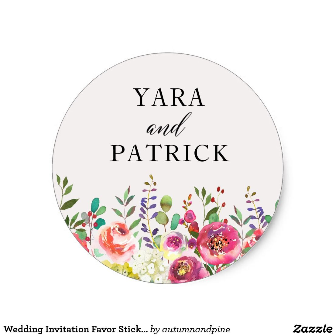 Wedding Invitation Favor Sticker Floral Watercolor | Favors ...
