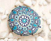 Painted rock / blue turquoise flower / painted stone / decorative stone / mehndi ornament / art / home decor