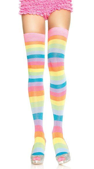 8f3b877677e9f Neon Striped Thigh Highs in 2019 | a home | Rainbow socks, Thigh ...