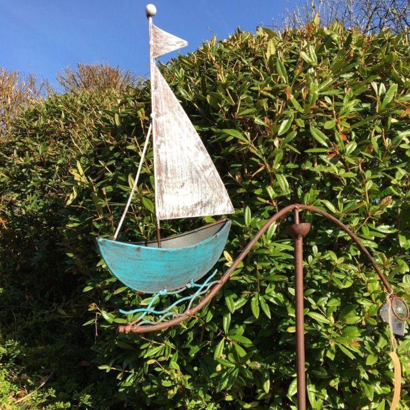 Windspiel Schiff Segelboot Maritim Metall Glas Gartenstecker Garten Deko Gartendeko Wippe Boot Garten Dekoration Ideen Windspiele Segelboot Garten Deko