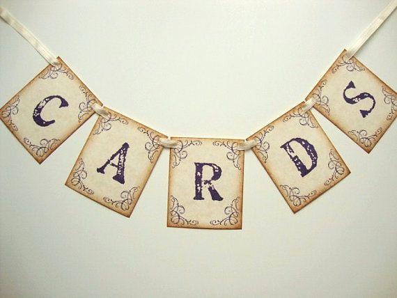 Diy Project Wedding Cards Banner Garland Rustic Vintage By Paperstudios 9 00