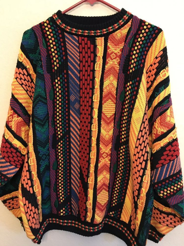 Protege Collection Mens Size Large Bright Multi Color Sweater Red