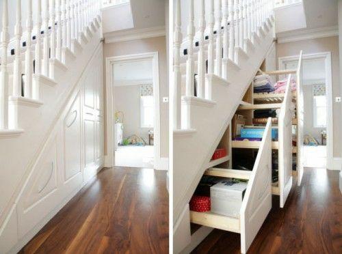 schöne praktische aufbewahrung ideen unter der treppe kleider