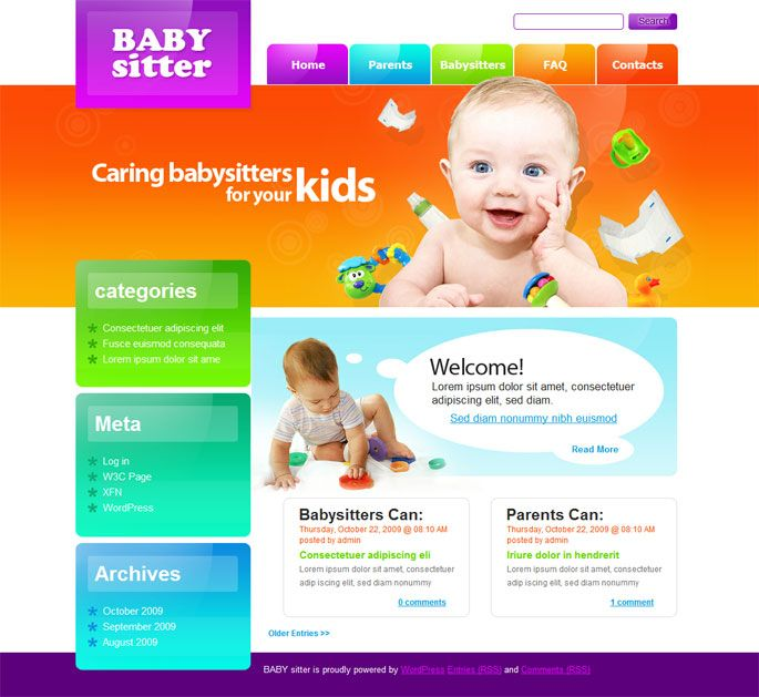 preschool website template wordpress - Google Search Cherry - another word for babysitter