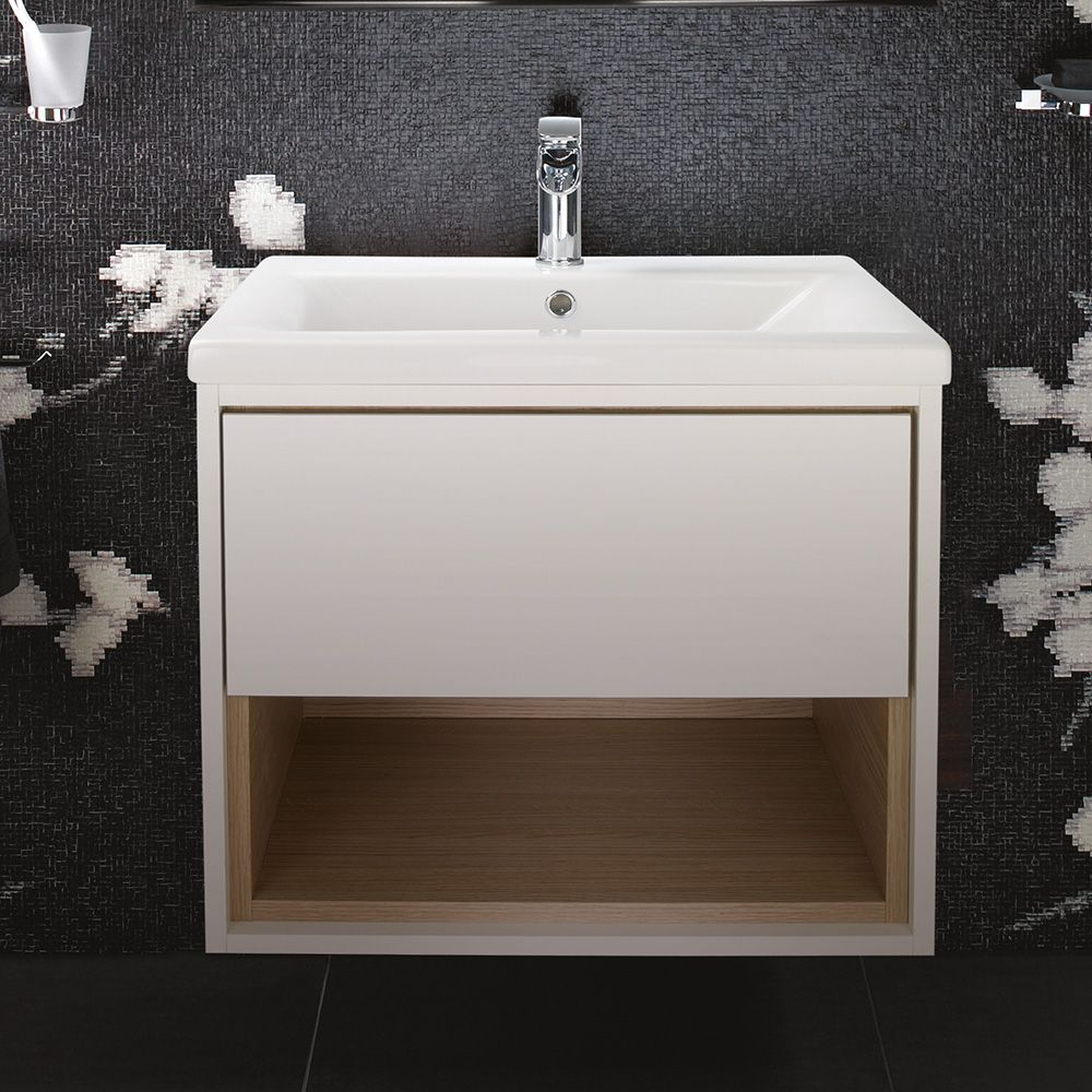 Lincoln 600 Basin With Grey And Driftwood Wall Mounted Vanity Unit ...