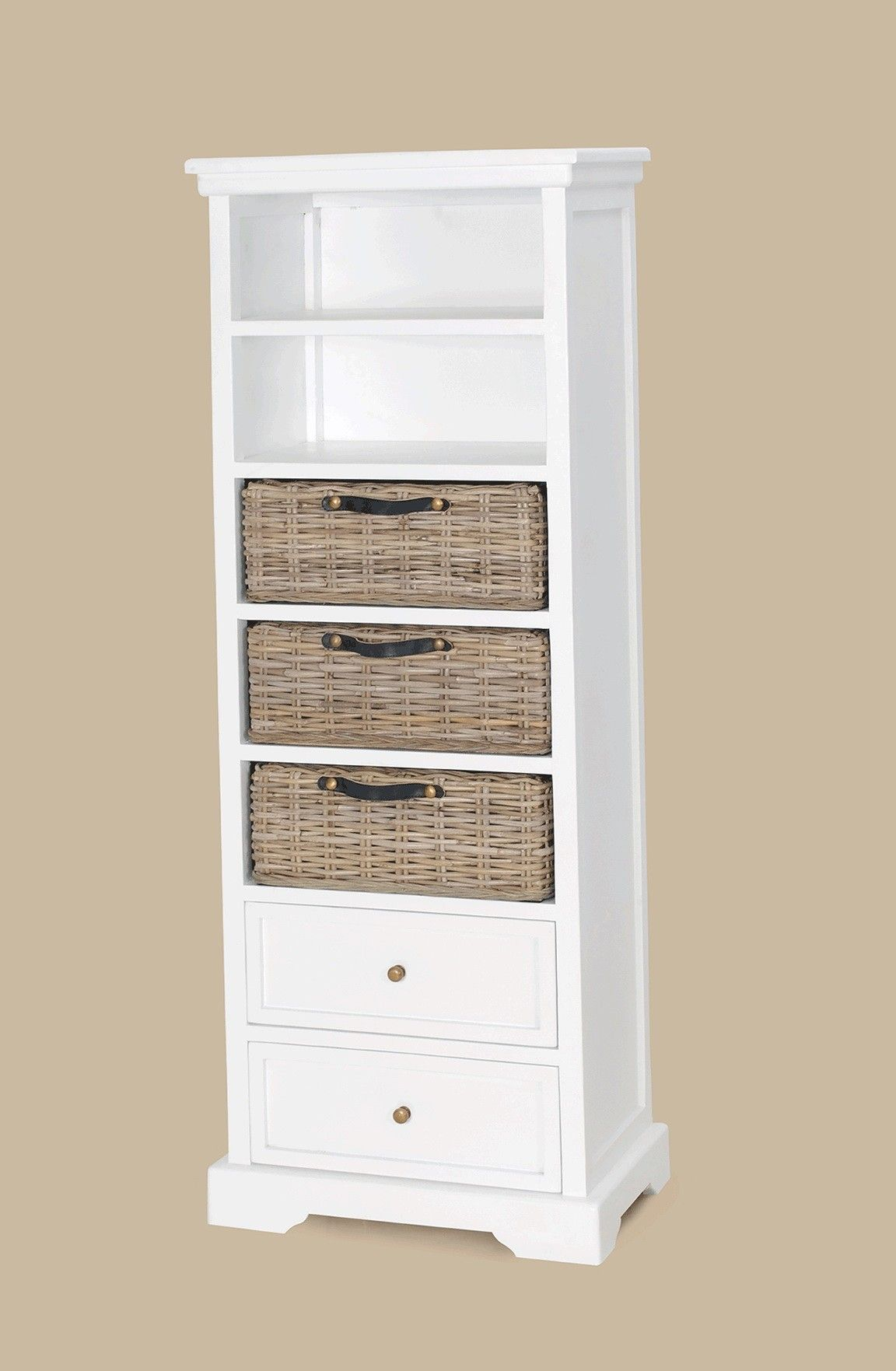 furniture tall white wooden bookcase with double racks and three brown rattan storages also. Black Bedroom Furniture Sets. Home Design Ideas