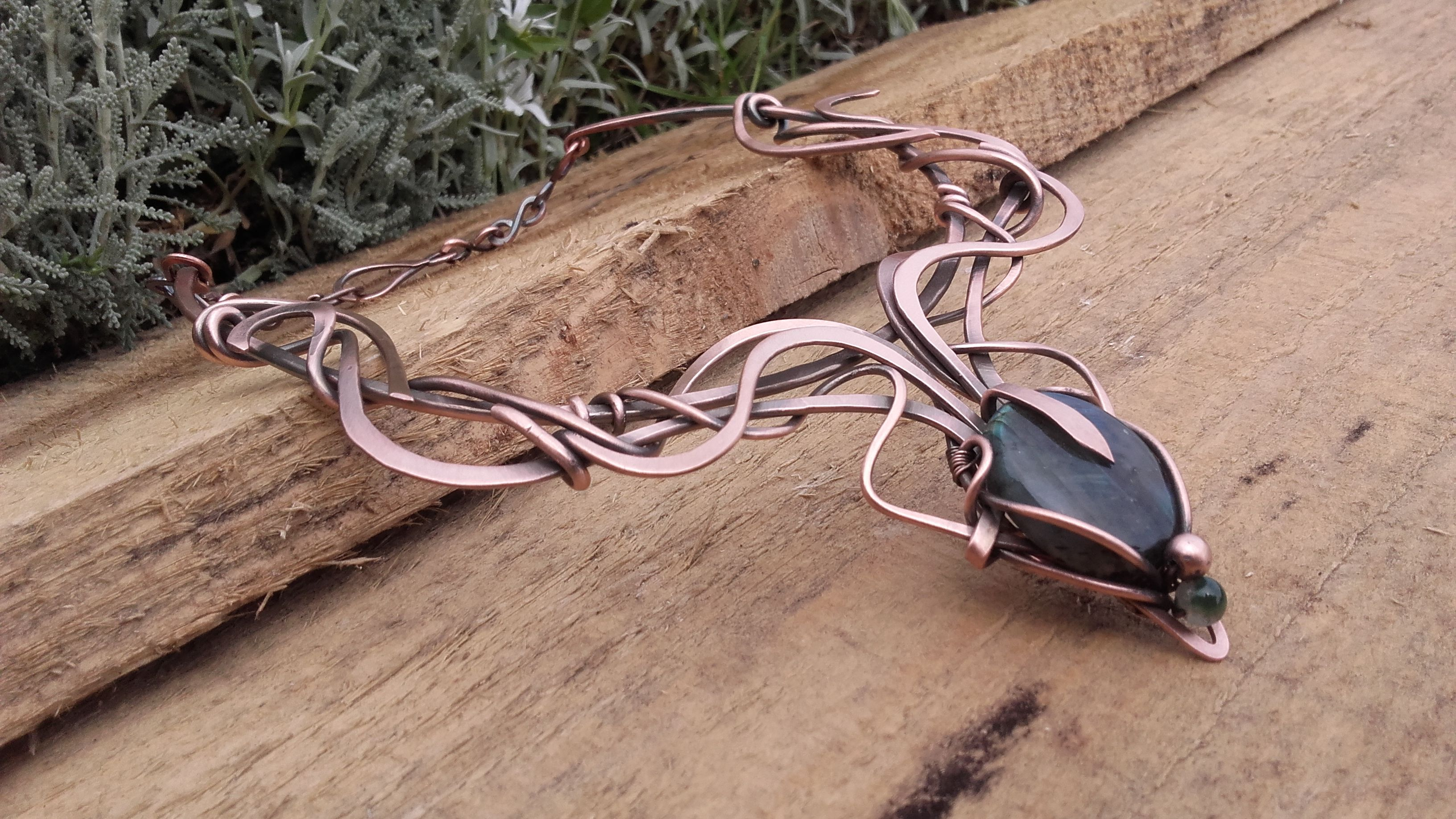 Copper Wire Wrapped Necklace With Labradoritecustom Ordered Piece Harness Wirewrapped Wirejewelry