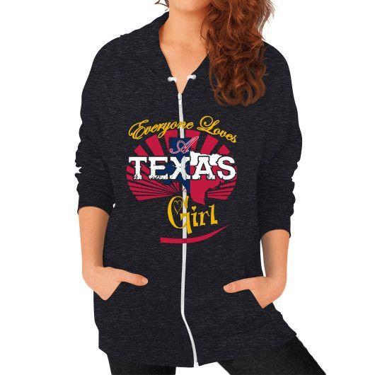 TEXAX GIRL Zip Hoodie (on woman)